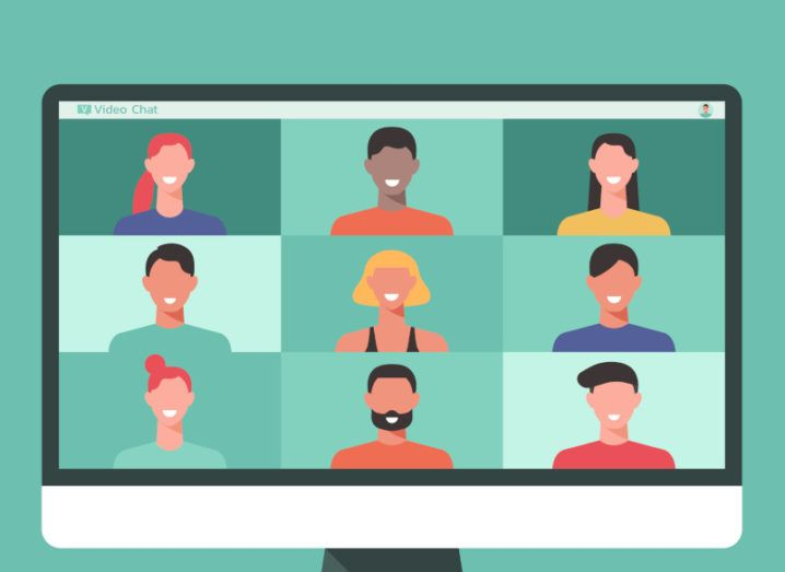 Cartoon graphic of a computer monitor with nine people on a video conferencing call. The background of the graphic is bright turquoise.