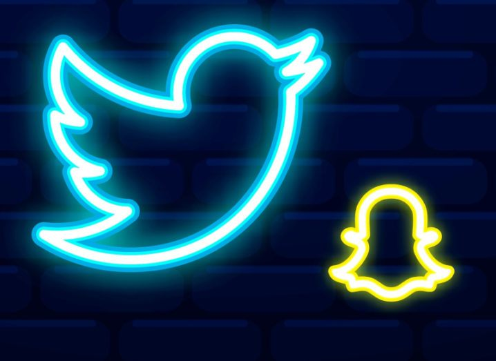 Stylised graphics of the Twitter and Snapchat logos.