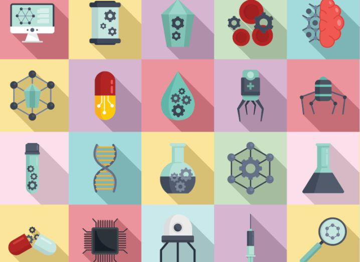 Graphic showing nanotechnology icons set in a grid of pastel-coloured backgrounds.