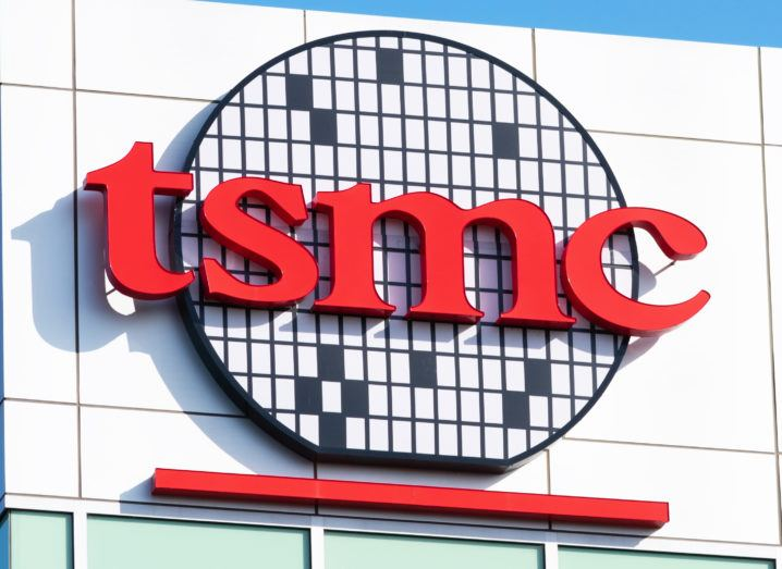 A TSMC sign on the side of a building in Silicon Valley.