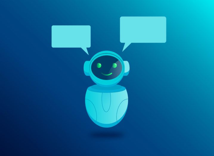 Animation of a smiling white robot in a blue background.