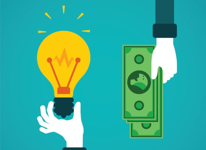 Illustration of a hand holding a lightbulb, representing a start-up idea, and another offering money to invest.