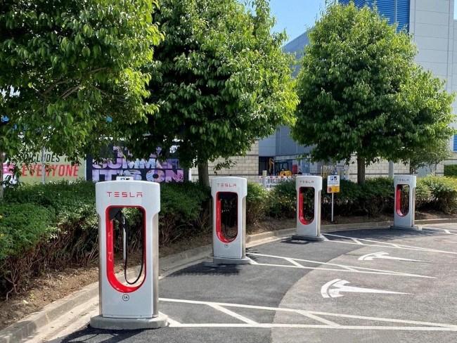 Une rangée de places de parking marquées du logo Tesla.  Chaque espace abrite une grande station Tesla Supercharger blanche.