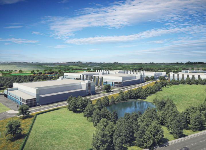 An illustration of a large data centre complex built near to a lake surrounded by green areas.
