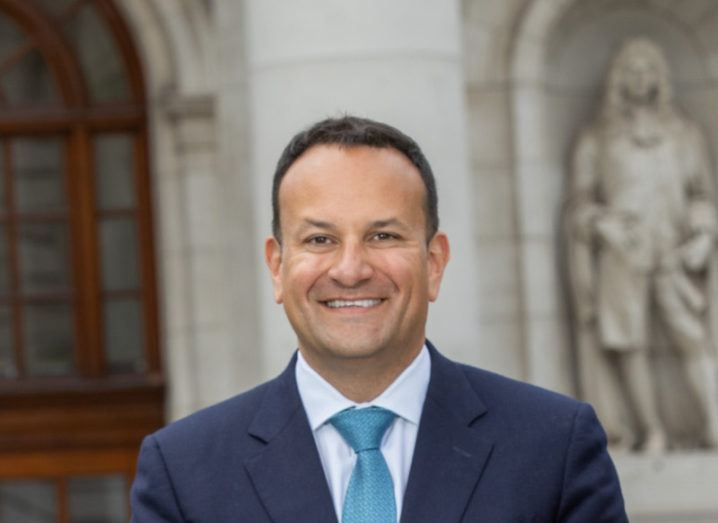 Headshot of Leo Varadkar pictured outside Irish Government buildings.