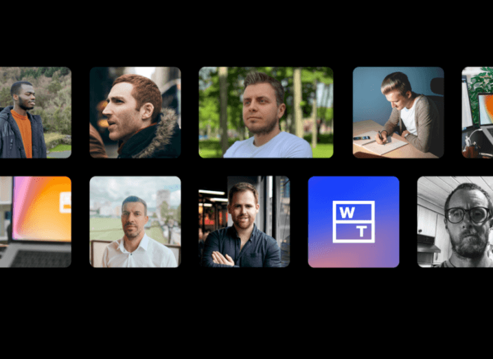 Small square screens across a black background show then WhenThen logo and its team members.