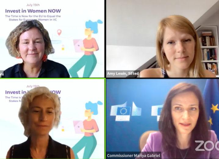 A screenshot of a Zoom meeting between three members of European Women in VC and EU Commissioner Mariya Gabriel. They discussed the lack of funding for women-led VCs in Europe.