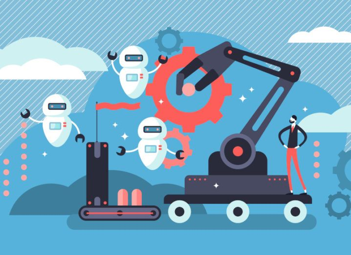 A graphic image of a robotic crane beside three floating white robots, symbolising automation.