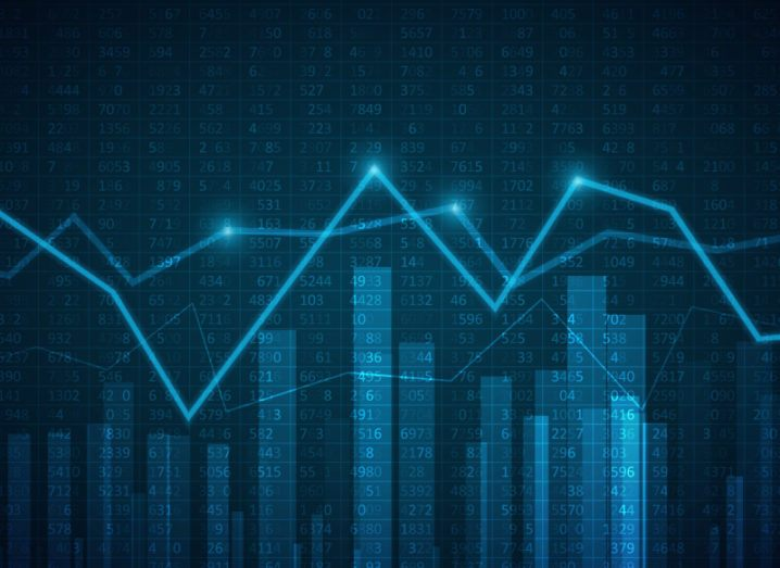 Abstract blue graphic of big data. A line graph sits above a bar chart against a backdrop of digital numbers.