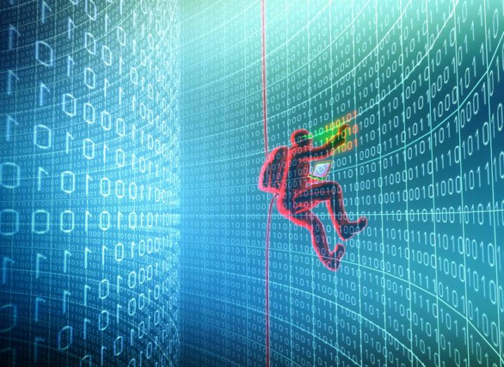 Illustration of a person in red climbing a wall of binary numbers, representing a data breach.