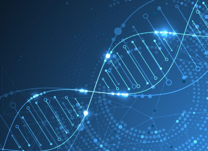 A digitised image of a double helix DNA strand against a blue background to symbolise digitalisation.