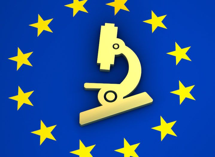 A microscope is depicted on the EU flag. The stars of the flag surround the yellow picture, representing the place of science within the EU.