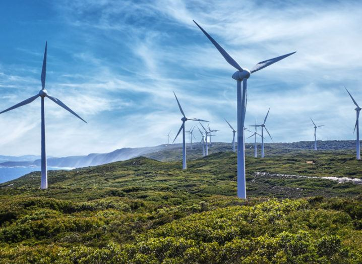 Wind turbines can be seen in the photograph. They are in nature, with green and yellow plants at their base. There is a blue sky with wispy cirrus clouds, and the ocean can be seen in the left background.