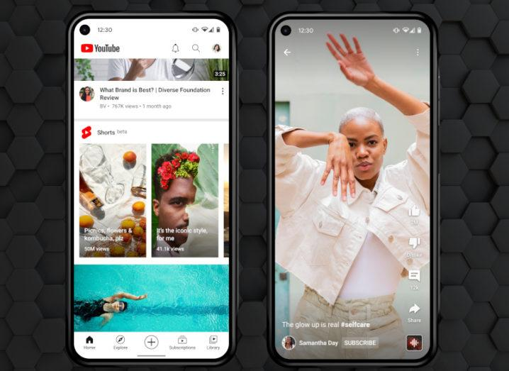 Side-by-side smartphone screenshots showing the Shorts preview on the YouTube app on the left and a video of a girl dancing on the right.