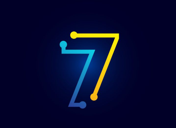An illustration of the number seven made up of connected data points in blue and yellow.