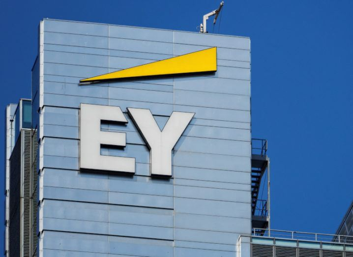 The EY logo on the company's Polish headquarters in Warsaw.