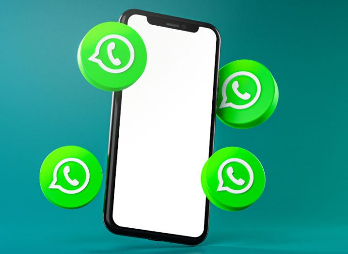 A graphic of a phone surrounded by WhatsApp logos.