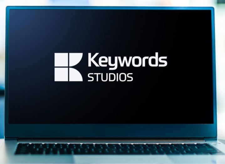 Laptop computer displaying logo of Dublin-based game developer Keywords Studios.