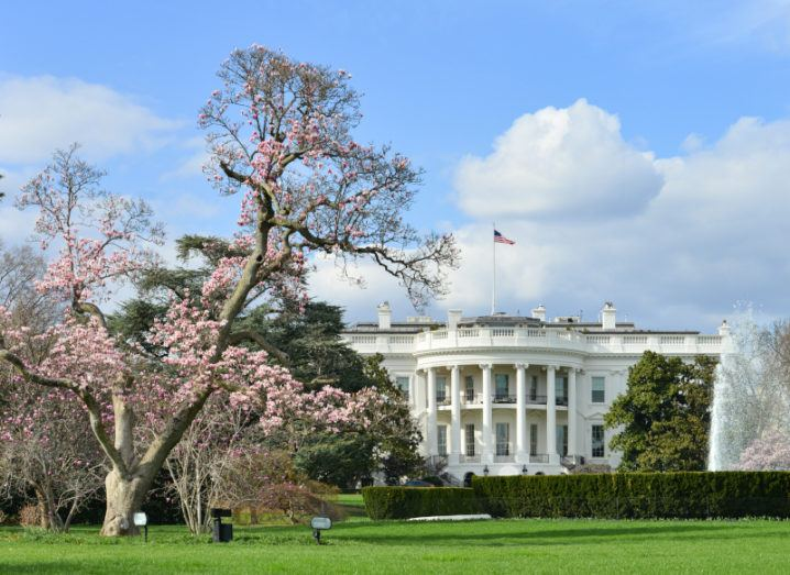 The White House as viewed from the South Lawn on a sunny day.