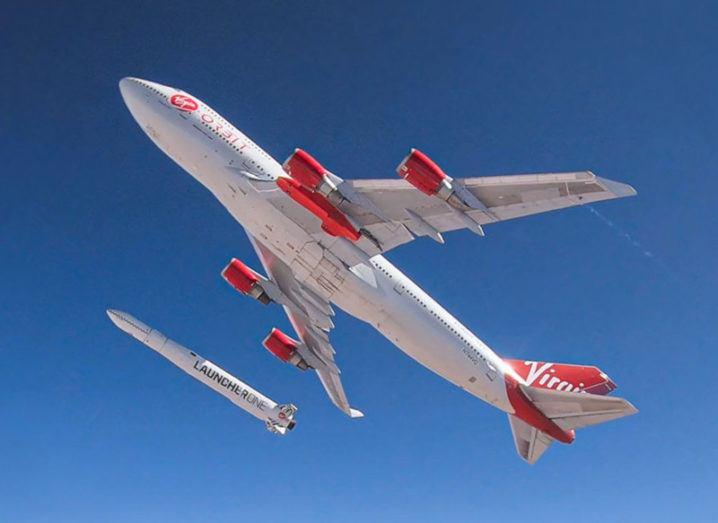 Virgin Orbit's carrier aircraft releasing its LauncherOne rocket.