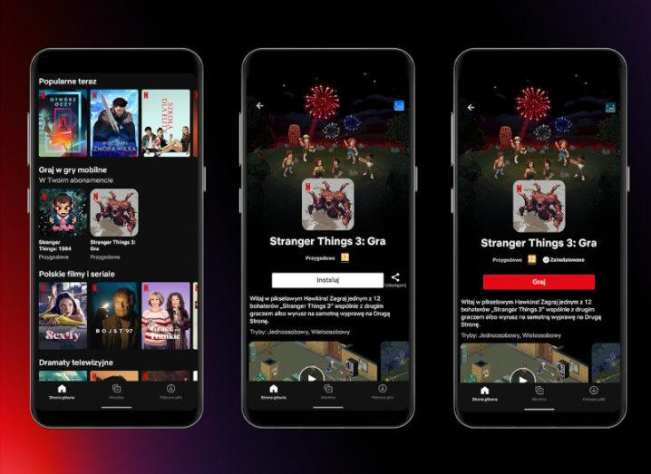 Screenshots of the Netflix app in Poland, showing games.