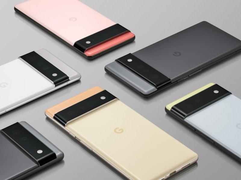 """Google's Pixel 6 phones, featuring the """"camera bar"""" across the back."""
