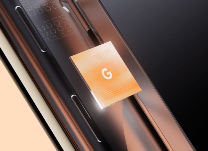 A stylised image of a chip with the Google logo on it.