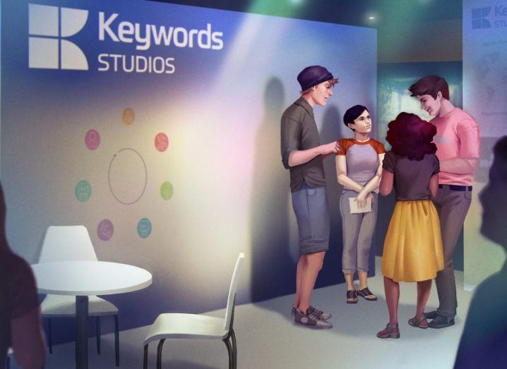 A promotional art image for Keywords Studios' booth at G-Star 2019 in Busan, Korea.