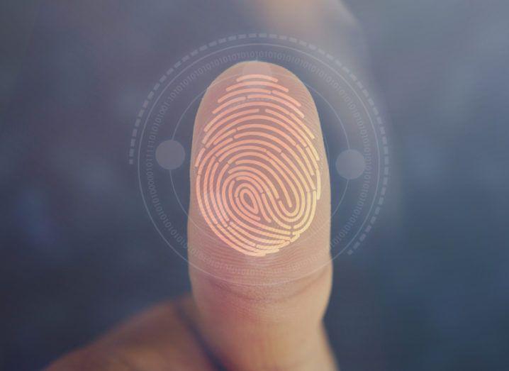 Image of a thumb showing fingerprint.