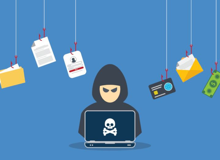 An animation of a cybercriminal in a black hoodie working on a laptop with a skull and bones on it. Files and money float on fishing hooks around his head.