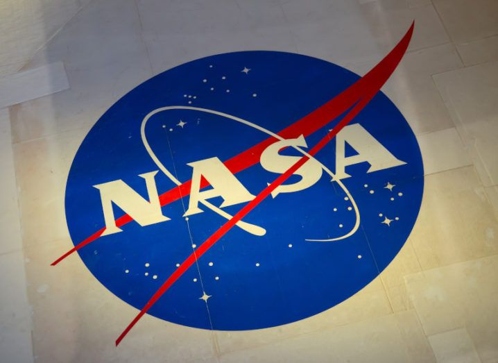 NASA's logo on the ground of the Kennedy Space Centre.