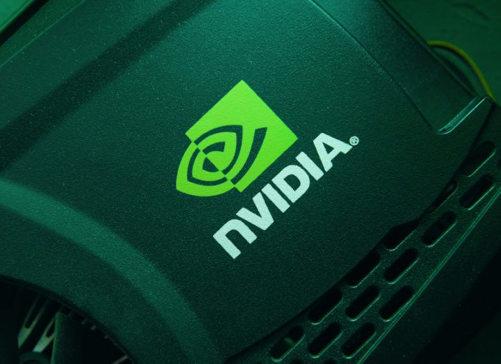 The Nvidia logo is shown on some of its hardware, most likely a video card. There is a green hue over the image.