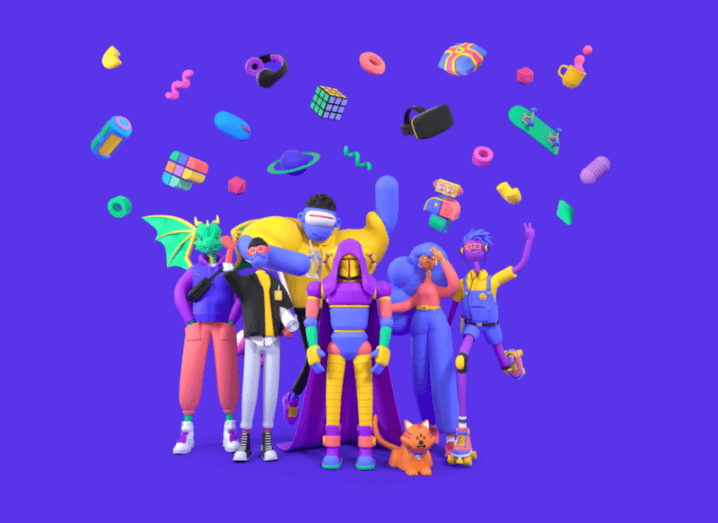 A graphic from Polywork, showing a small crowd of colourful, animated characters throwing assorted objects into the air.