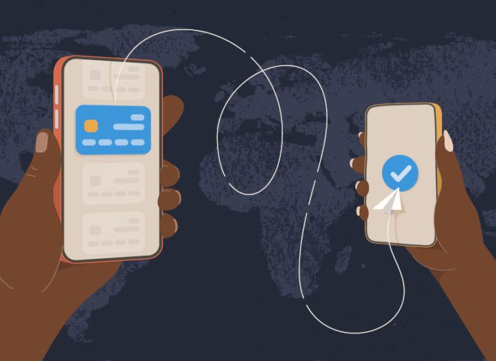 Illustration of digital money transfer from one phone to another.