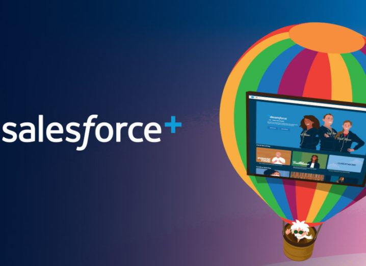 Salesforce+ logo with parachute and steaming platform in the background.