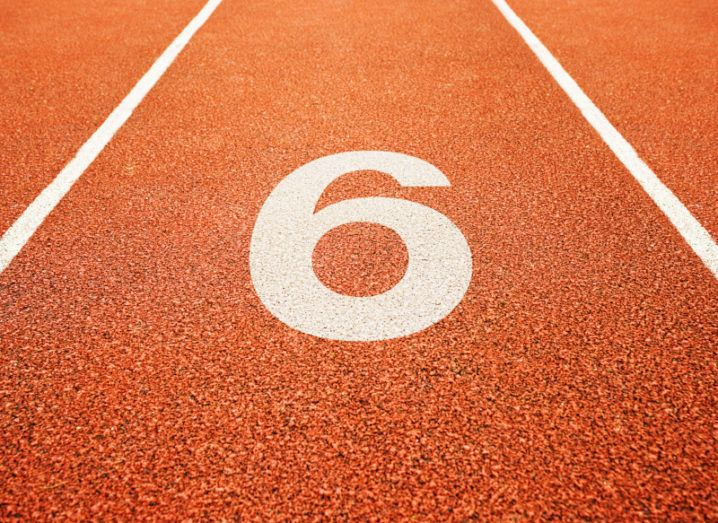 A race track with the number six painted on it.
