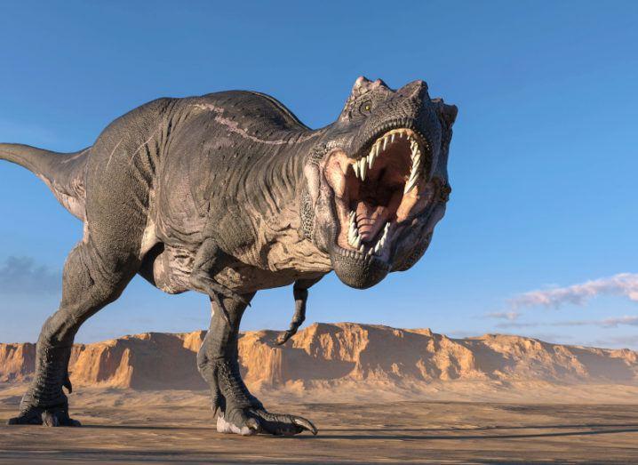 An artist's depiction of a T-rex in a desert.