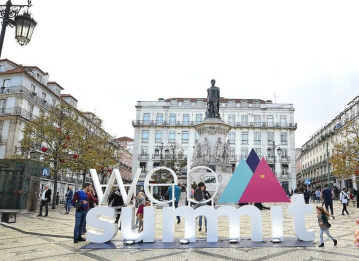 Web Summit logo in the streets of Lisbon, Portugal.