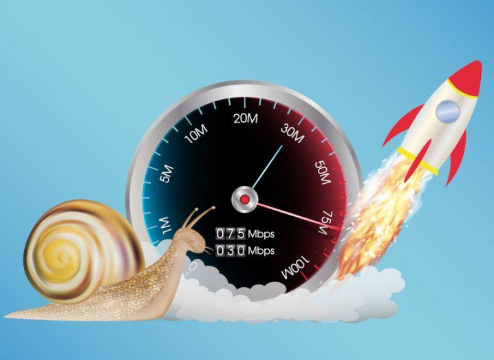Internet speed meter with snail and rocket ship against blue background.