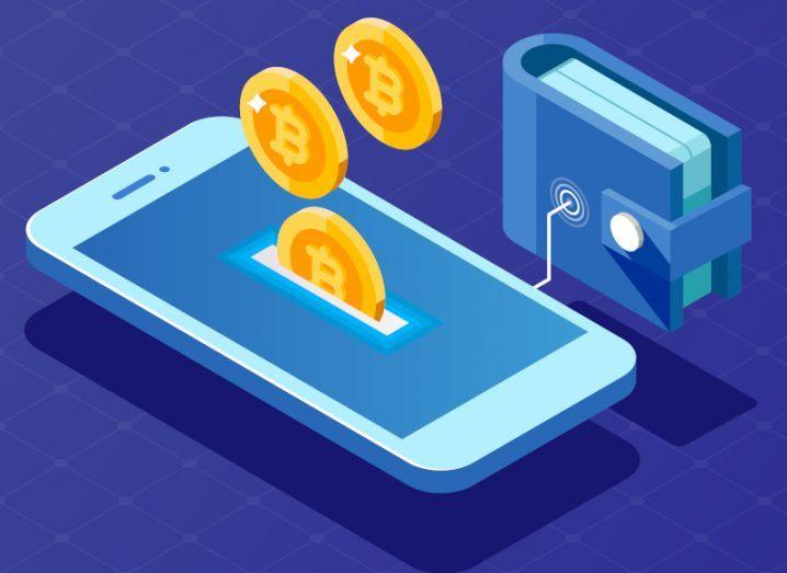 Illustration of a bitcoin digital wallet.