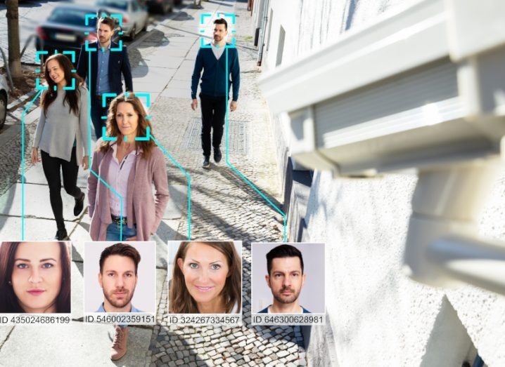 AI facial recognition technology at work on people's faces, which was condemned by the UN human rights chief.
