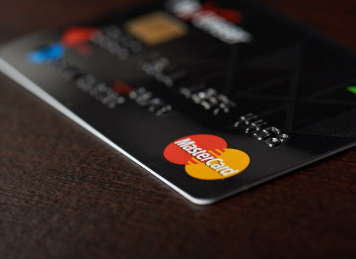 Close up shot of a Mastercard payment card on a table.