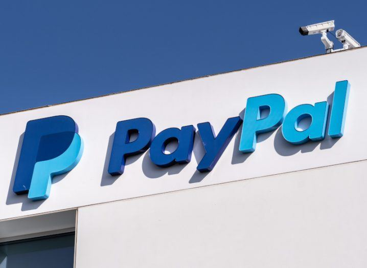 The PayPal logo on the company's headquarters in California.