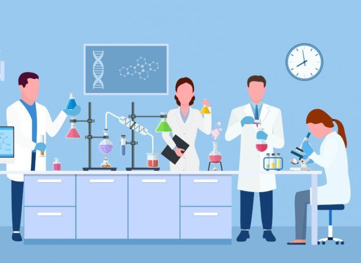 A blue-toned cartoon image of scientists and researchers working in a lab.