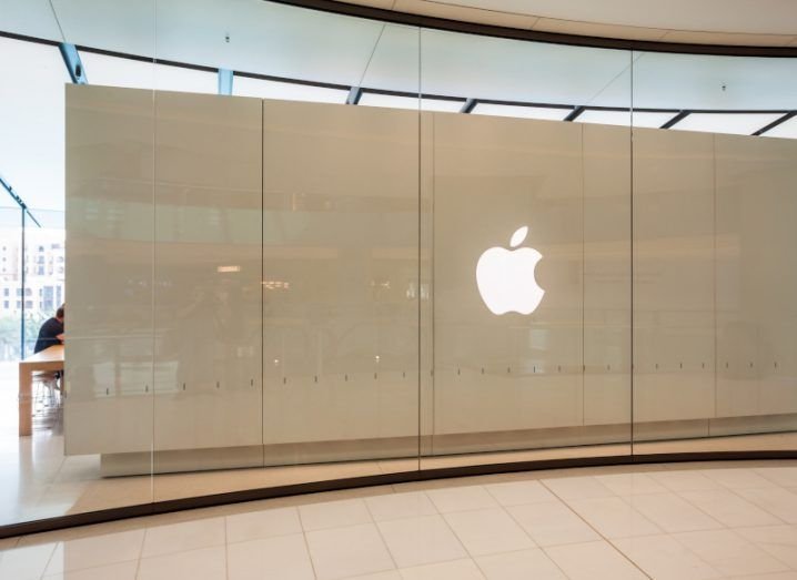 The Apple logo at a store in Dubai.