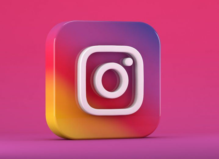 The Instagram logo on a pink background.