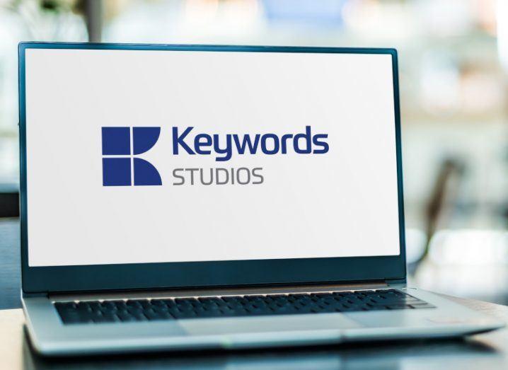 Laptop displaying logo of Keywords Studios.