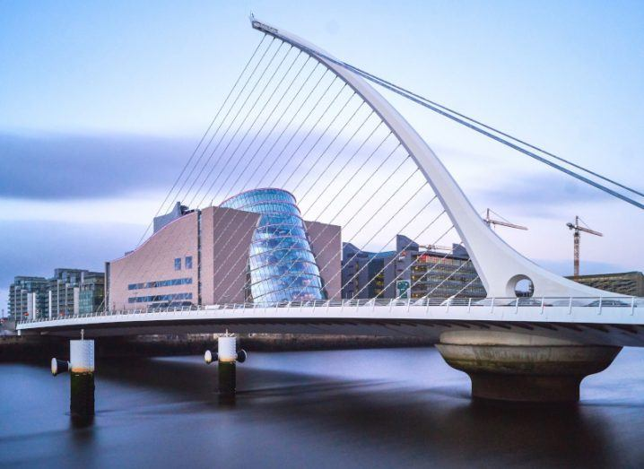 Dublin's Docklands area including the Samuel Beckett bridge and the Convention Centre.