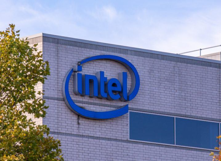 Intel logo displayed on offices in Oregon.