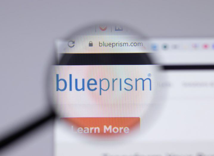 The Blue Prism logo on a computer screen.
